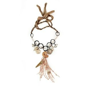 Unique Shabby Chic Artisan Beaded Bib Necklace